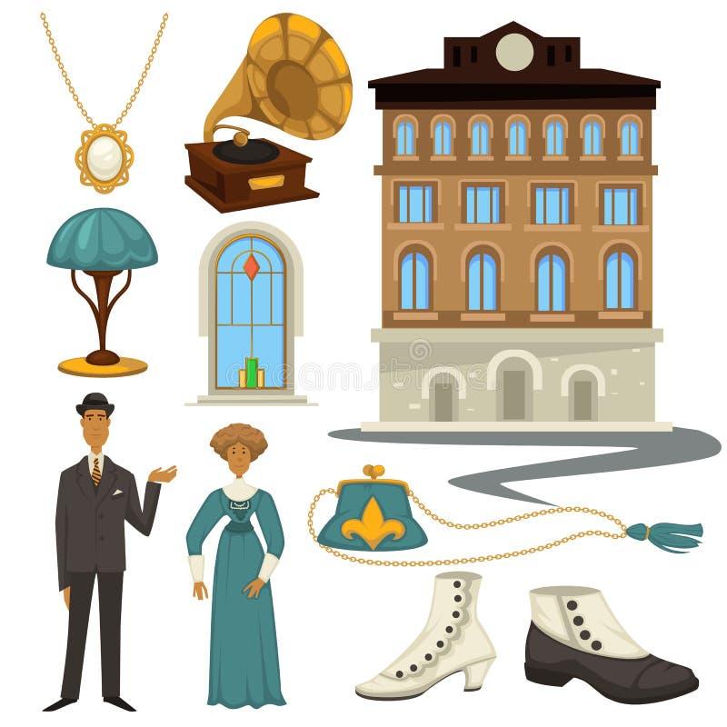 1910s symbole i projektów elementy retro moda stylu, odzieżowego i wewnętrznego, ilustracja wektor