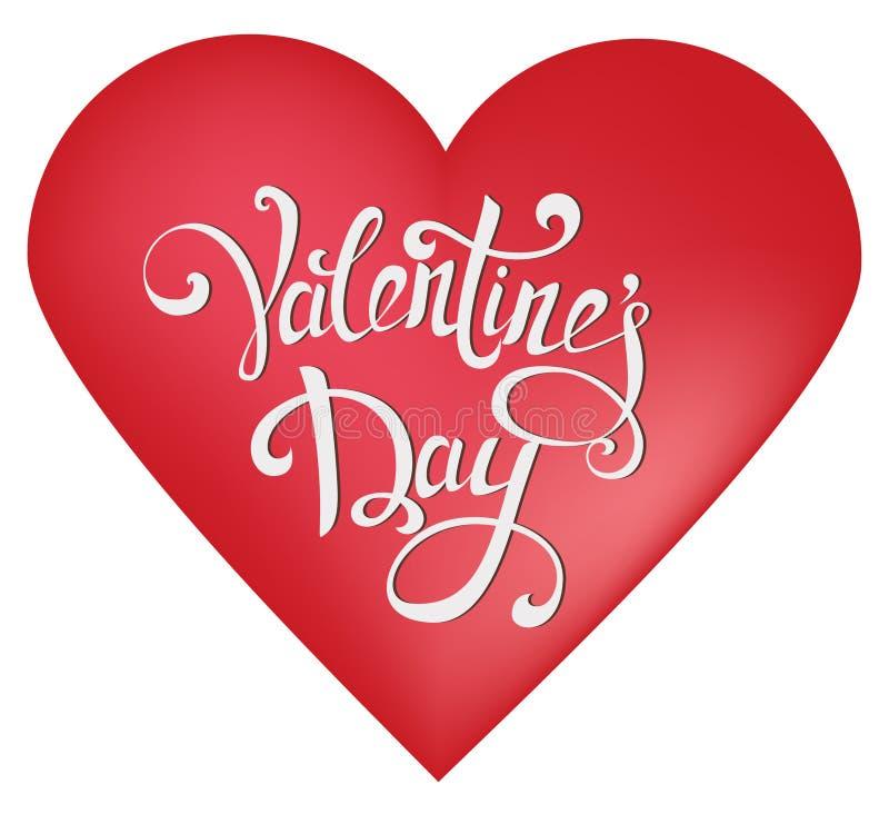s szczęśliwego valentine karciany dzień Czerwony kierowy kształt na białym tle z ręka rysującym rocznika literowaniem ilustracja wektor