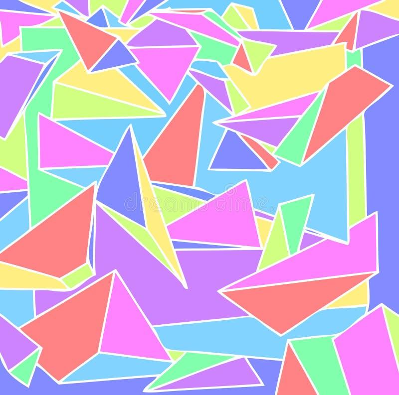 80 ` s tło z pastelowych kolorów, 3D sztuki, trójboki i graniastosłupy ostrosłupami, ilustracja wektor