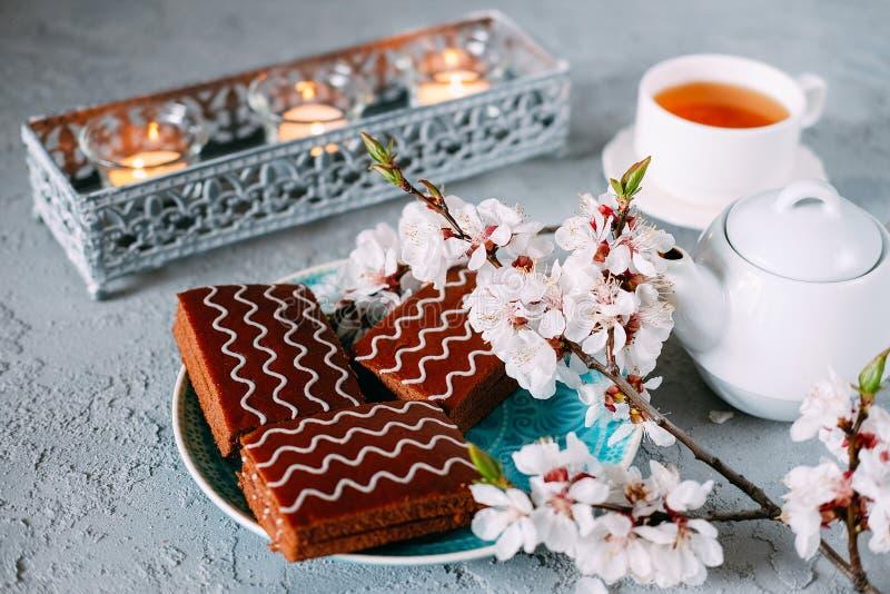 S?t s?ndag efterr?tt Chokladnissen med svart te royaltyfri foto