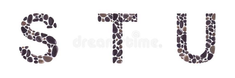 S-, t- und u-Buchstaben machten von den Steinen, die auf weißem Hintergrund lokalisiert wurden lizenzfreies stockbild