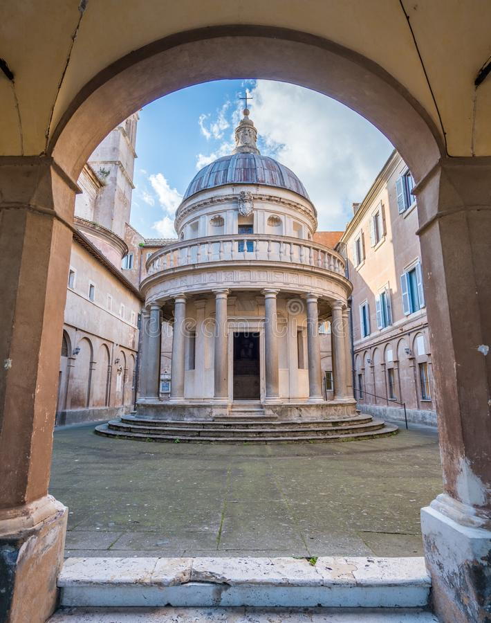 ` S Tempietto Bramante в церков Сан Pietro в Montorio в Риме, Италии стоковое фото
