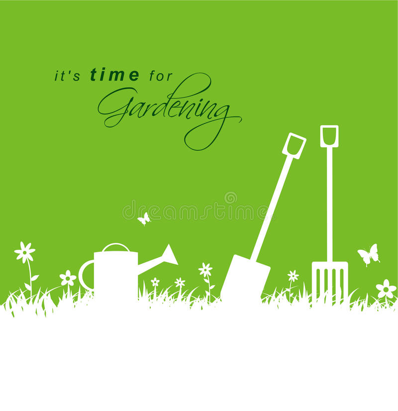 Its time for gardening .Spring gardening background with spade, vector illustration