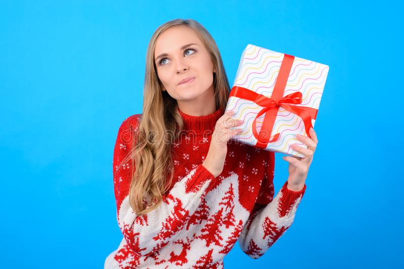 It`s time for giving presents to everyone! Your happy cute girl royalty free stock images