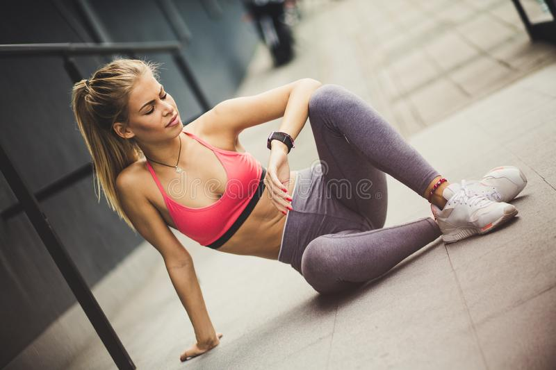 It`s time for rest after exercise. stock image