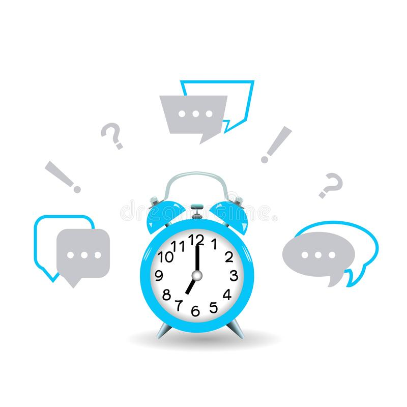 It`s time to ask questions and get answers. Blue alarm clock. stock illustration