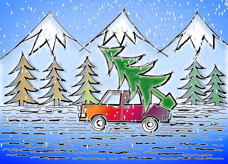 It`s time to do the Christmas tree - concept image drawn freehand.  royalty free stock images