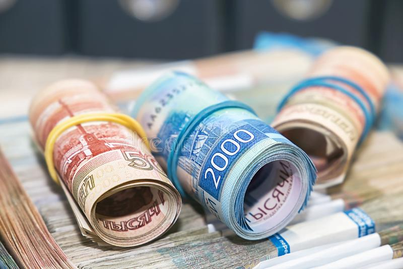 A lot of Russian money. Five thousand and two thousand rubles notes stock photography