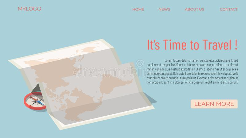 It`s time to travel template concept vector illustration
