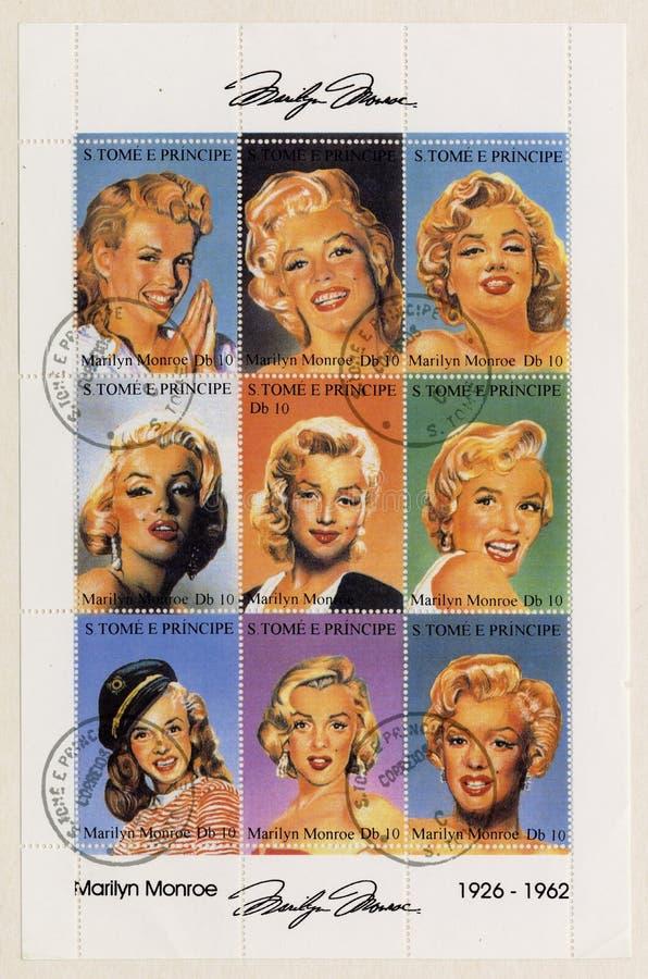 S. Tome E Principe circa 2002 estampilles de Marilyn M photo libre de droits