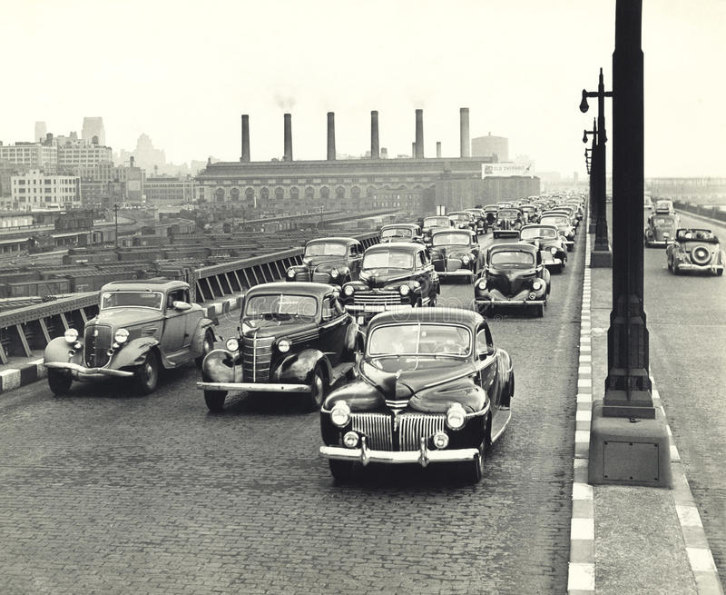 1940s traffic congestion in New York City royalty free stock images