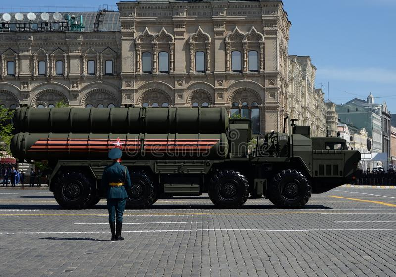 The S-400 Triumf is an anti-aircraft weapon system large and medium-range developed. MOSCOW, RUSSIA — MAY 09, 2018: Celebration of the 73th anniversary royalty free stock images