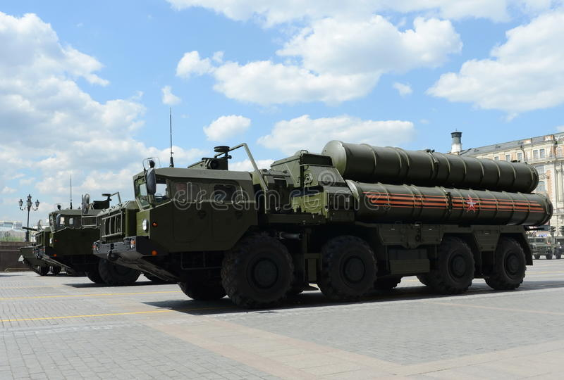 The S-400 Triumf (NATO reporting name: SA-21 Growler) is an anti-aircraft weapon system large and medium-range. MOSCOW, RUSSIA - MAY 07, 2016:The S-400 Triumf ( stock photo
