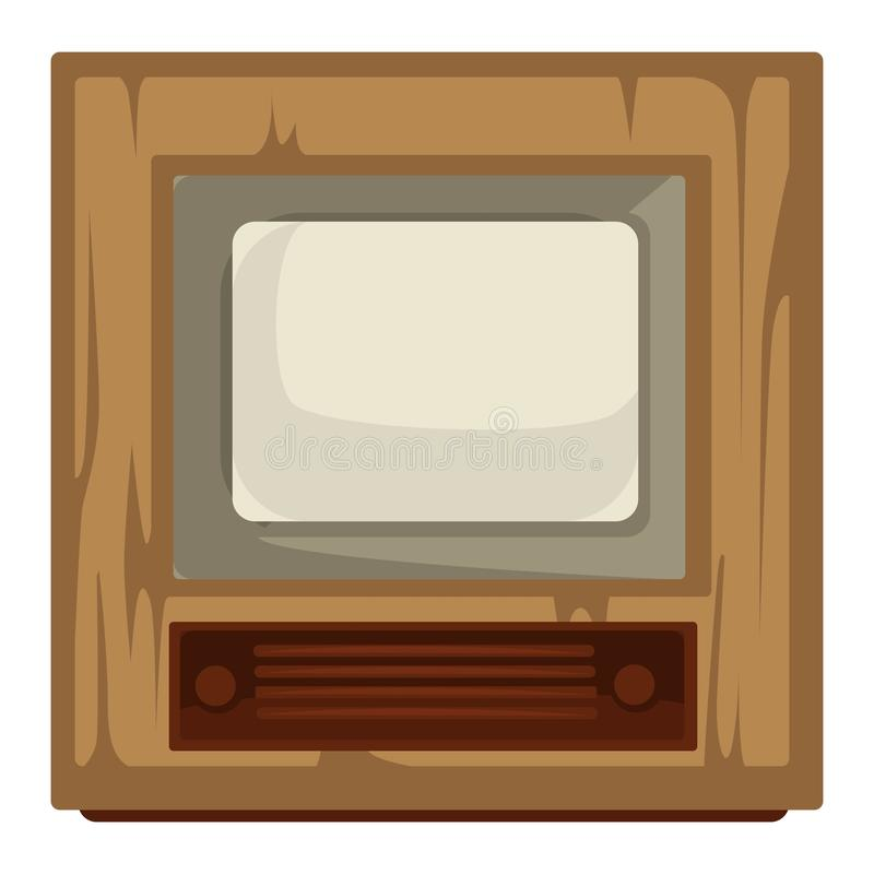 40s TV set, house item, retro device, movie and news broadcasting. House item, TV set of 40s, retro device in 1940s style isolated appliance with wooden panel vector illustration
