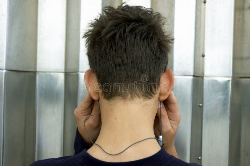 Słucha Nastolatki Odtwarzacz Mp 3 Obraz Stock