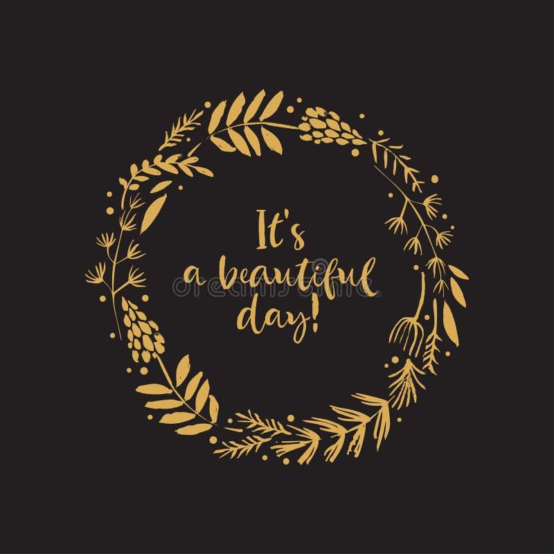 ` s un il bello giorno Carta della corona del fiore dell'oro con ispiratore royalty illustrazione gratis