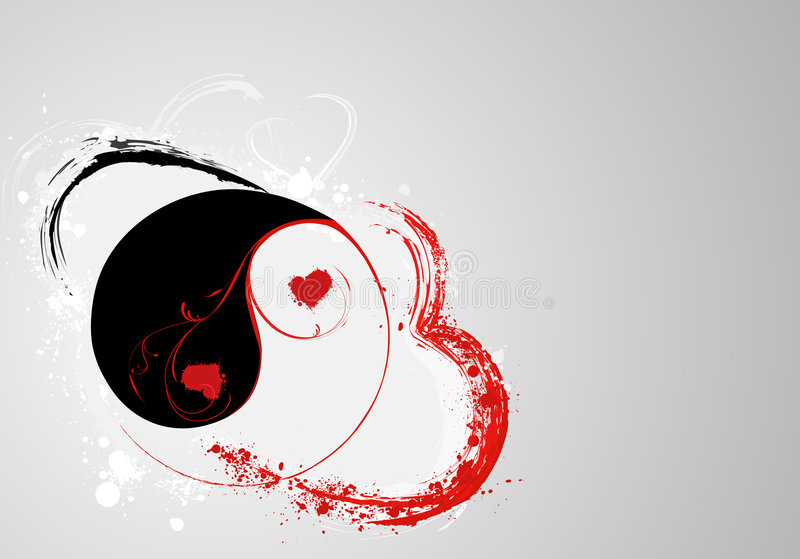S.valentine's yin and yang. Valentine's day background with yin and yang royalty free illustration