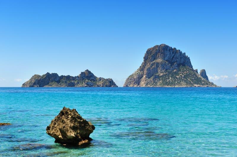 S Vedra Cala d'Hort Ibiza Spanje stock foto