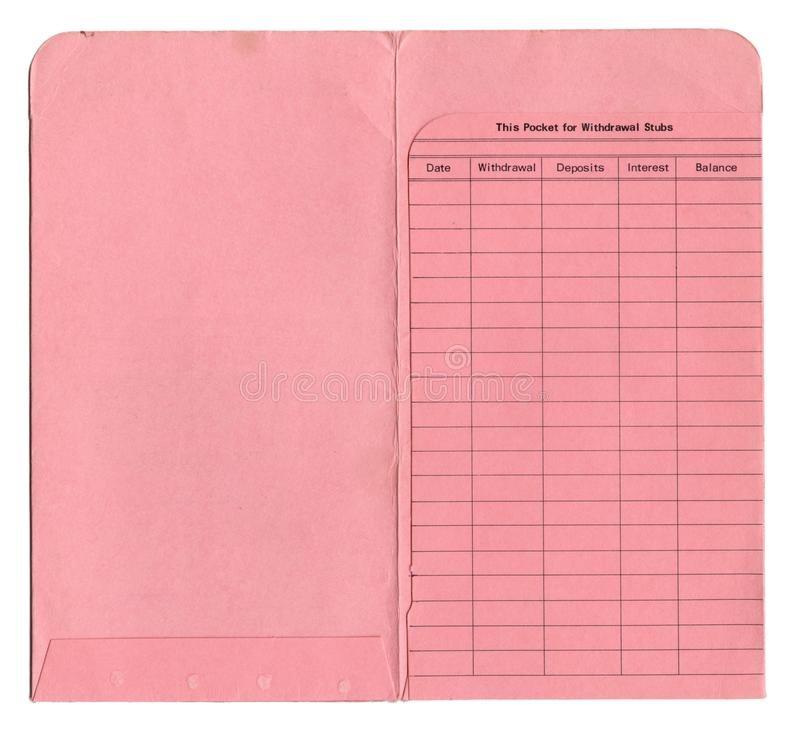 1960s Vintage Open Empty Pages of a Savings Account. An old paper banking ledger for checking or savings account from the 1960s. This is a high resolution scan stock image