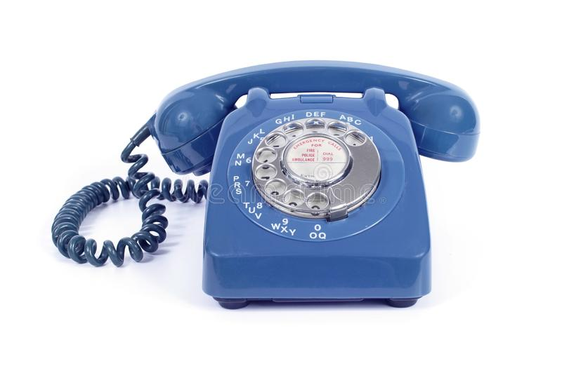 1960s Vintage Rotary Dial Blue Telephone stock photo