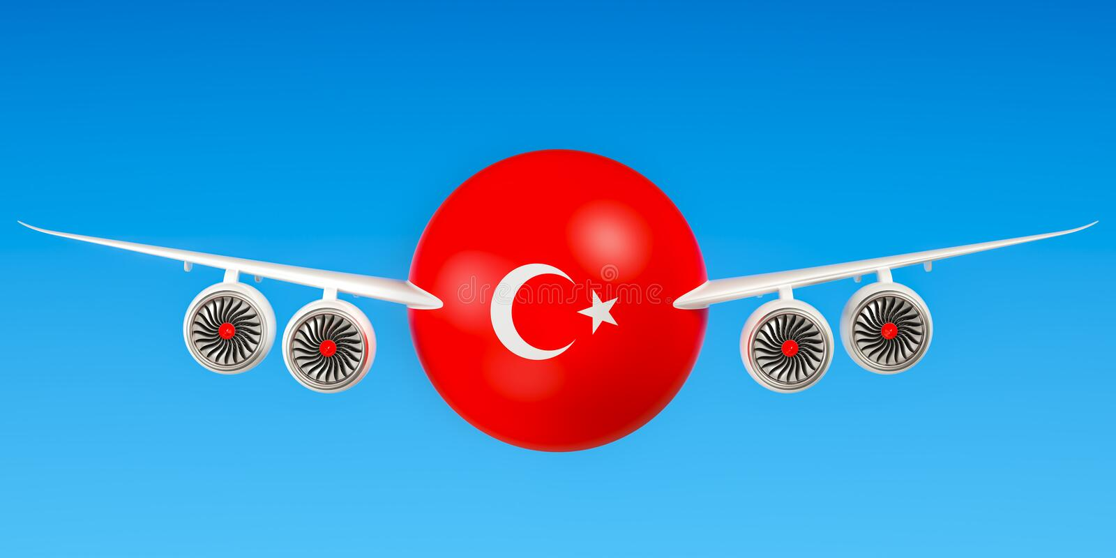 ` S, vols de Turkish Airlines et de vol au concept de la Turquie 3d ren illustration de vecteur