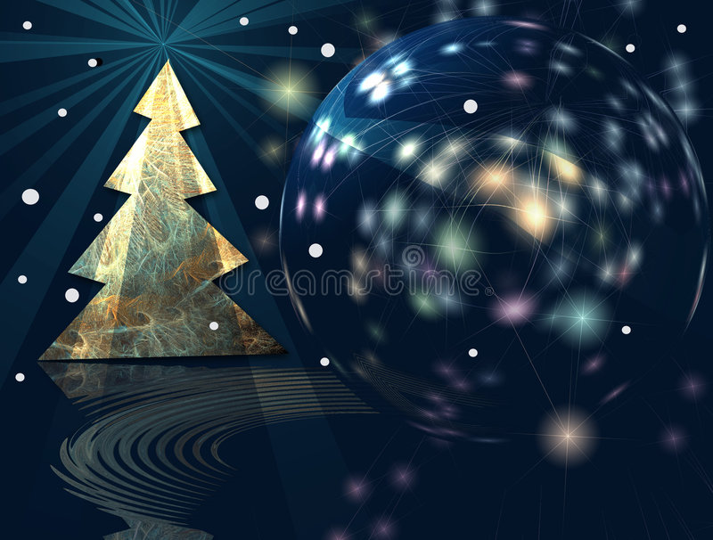 It's a wonderful Christmas!. The Christmas tree and big ball are illuminated with festive starry lighteffects. The colorful light effects and stars contrast vector illustration
