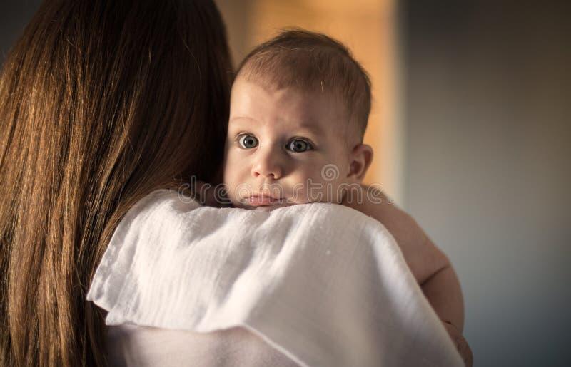 It`s a wonderful mom`s embrace royalty free stock photo