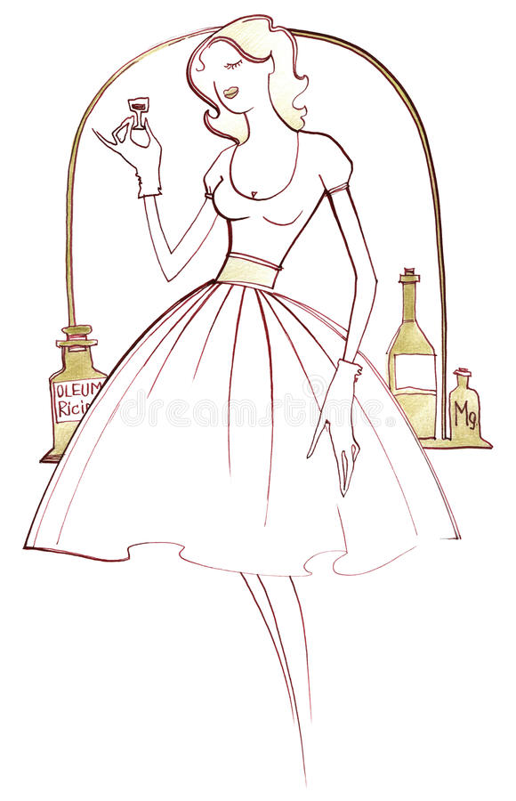 1950s. Young women in fashion dress 1950s on white background vector illustration