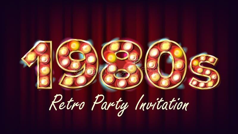 1980s zaproszenia Retro Partyjny wektor 1980 rocznika Stylowy projekt Połysk Lampowa żarówka Rozjarzony Klasyczny Retro plakat, u royalty ilustracja