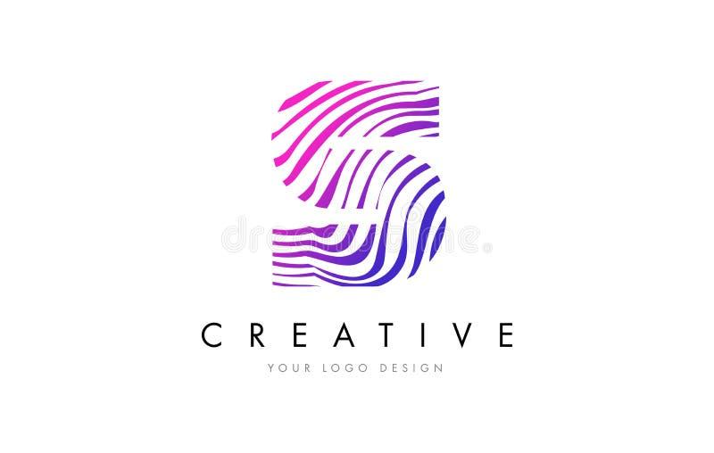 S Zebra Lines Letter Logo Design with Magenta Colors royalty free illustration