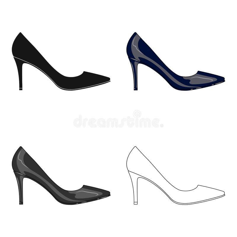 Saída das sapatas highheeled das mulheres negras em um vestido As sapatas diferentes escolhem o ícone no estoque do símbolo do ve ilustração do vetor