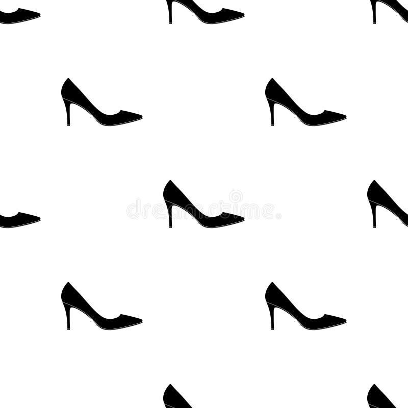 Saída das sapatas highheeled das mulheres negras em um vestido As sapatas diferentes escolhem o ícone no estoque preto do símbolo ilustração do vetor