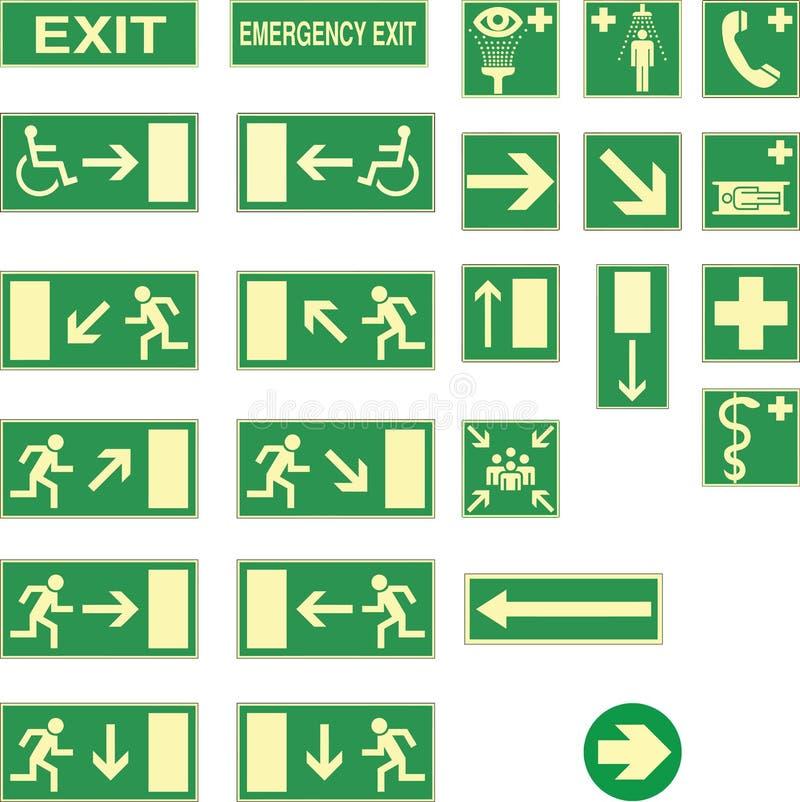 A saída de emergência canta ilustração stock