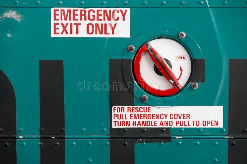 Saída de emergência do helicóptero fotografia de stock
