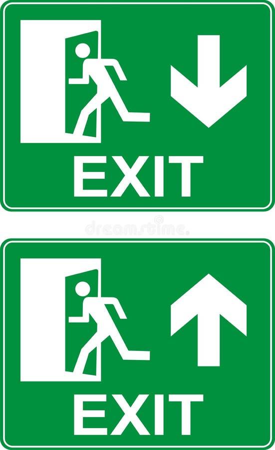 Saída de emergência para cima e para baixo sinais ilustração royalty free