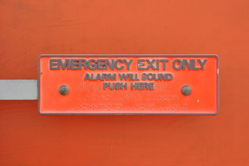 Saída de emergência somente foto de stock