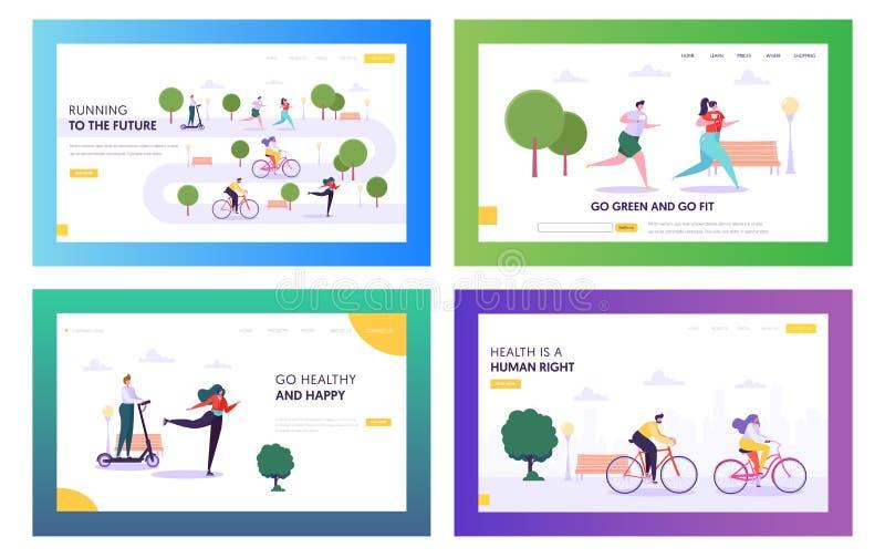 A saúde é grupo de aterrissagem direito humano da página Bicicleta, rolos e 'trotinette' da equitação do caráter do estilo de vid ilustração royalty free