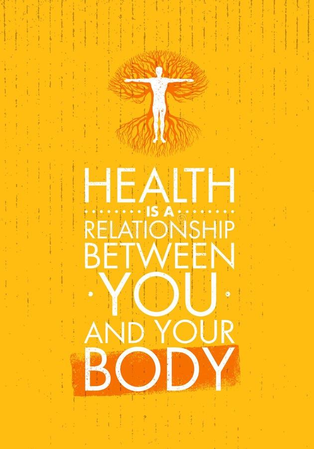 A saúde é um relacionamento entre você e seu corpo Molde criativo inspirador das citações da motivação Tipografia do vetor ilustração stock
