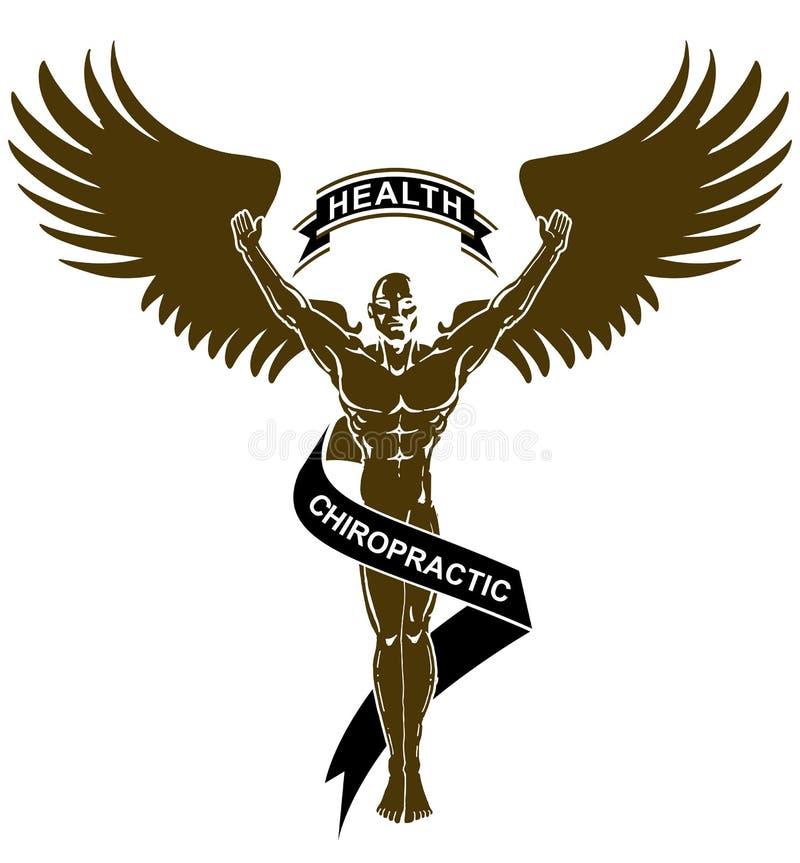 Saúde branca preta Angel Man da quiroterapia ilustração royalty free