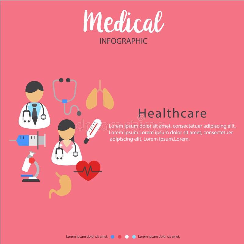 Saúde colorida e apresentações médicas de Infographic que anunciam o estilo liso do projeto ilustração do vetor