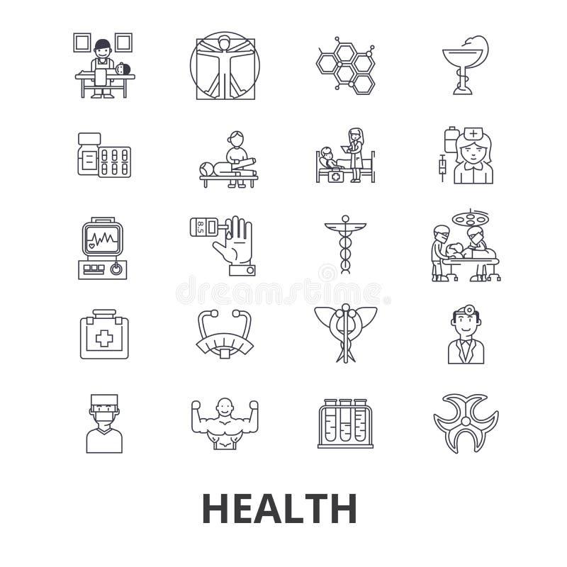 Saúde, cuidados médicos, aptidão, bem-estar, doutor, estilo de vida saudável, linha ícones do exercício Cursos editáveis Projeto  ilustração do vetor