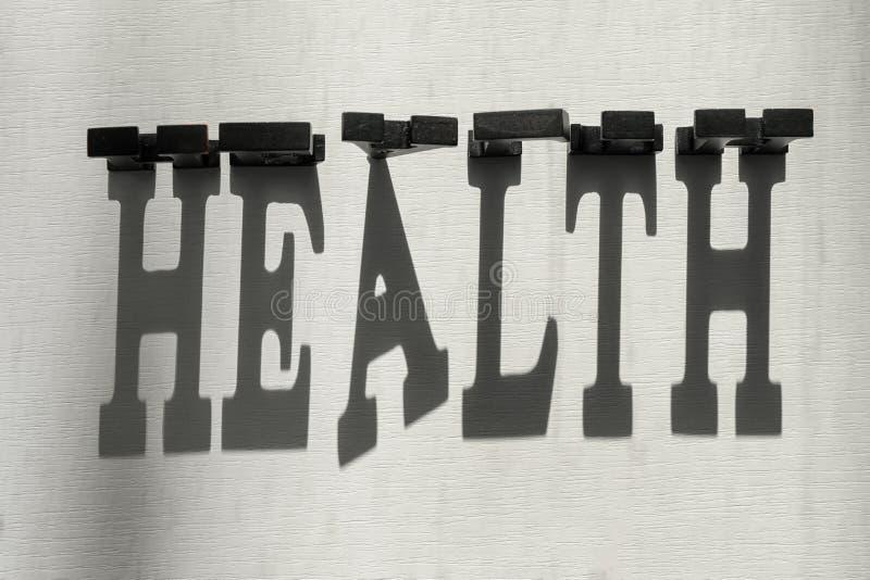 A SAÚDE da palavra fez de letras escuras com sombra no fundo claro imagem de stock