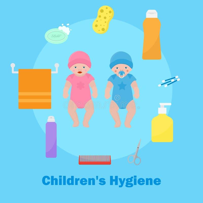 Saúde das crianças s e ilustração do vetor da bandeira dos ícones da higiene Caráteres do bebê e da menina com bocal acess?rios ilustração royalty free
