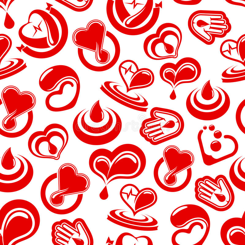 Saúde do coração e teste padrão sem emenda do vetor do sangue ilustração stock