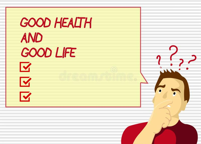 Saúde do texto da escrita boa e boa vida O conceito que significa a saúde é um recurso para viver uma vida completa ilustração royalty free