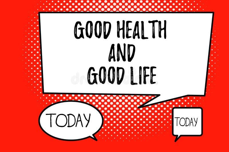 Saúde do texto da escrita da palavra boa e boa vida O conceito do negócio para a saúde é um recurso para viver uma vida completa ilustração stock