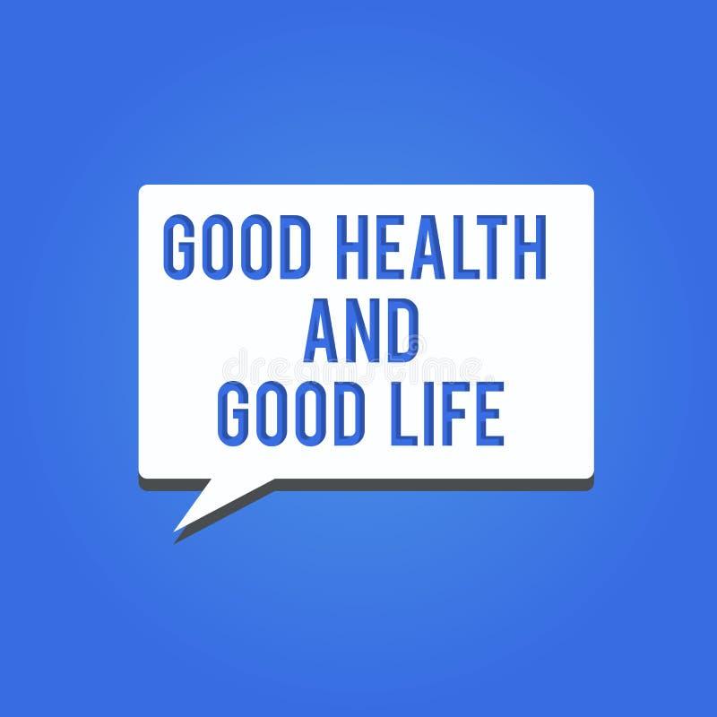 Saúde do texto da escrita da palavra boa e boa vida O conceito do negócio para a saúde é um recurso para viver uma vida completa ilustração do vetor