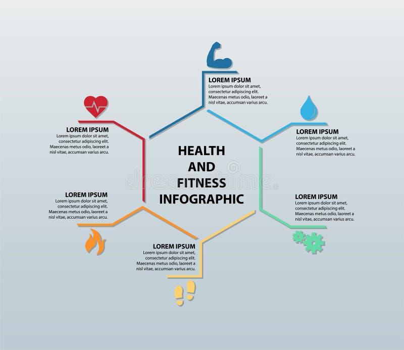 Saúde do vetor e aptidão Infographic que caracteriza seis ícones com seções de informação correspondentes ilustração do vetor