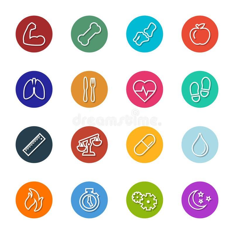 Saúde do vetor e linha ícones da aptidão dentro da coleção dos círculos ilustração stock