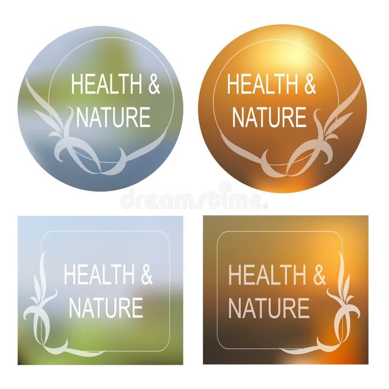 A saúde e a natureza Vector o fundo, grupo decorativo do quadro ilustração stock